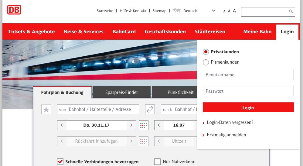 Anmeldung auf bahn.de